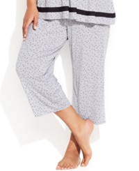 Ellen Tracy Plus Size Yours To Love Capri Pajama Pants Grey Heather Dot