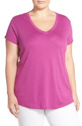 Plus Size Women's Sejour Short Sleeve V Neck Tee Purple Clover