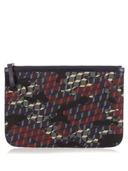 Pierre Hardy Cube And Camouflage Print Nylon Pouch Green Multi