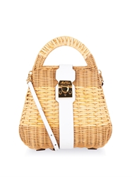 Mark Cross Manray Small Rattan Satchel Bag