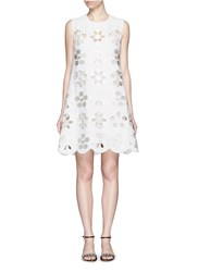 Victoria Beckham Scalloped Edge Floral Embroidery Crepe Dress White