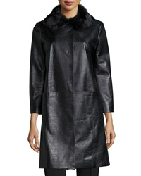 Neiman Marcus Croc Embossed Leather Topper Coat Black
