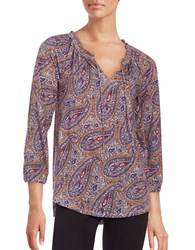 Lucky Brand Paisley Peasant Top Red Multi