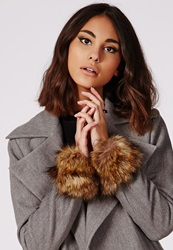 Missguided Faux Fur Cuffs Brown