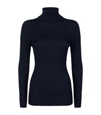 St. John Roll Neck Cable Knit Sweater Female Navy