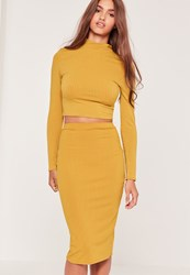 Missguided Ribbed Mini Skirt Yellow Green