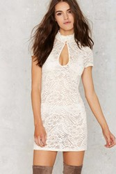 Nasty Gal Into Full Sheer Lace Dress White
