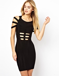 Arrogant Cat London Panelled Bodycon Dress With Cutout Black