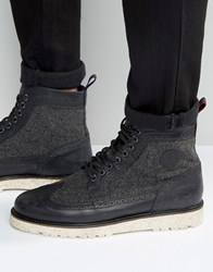 Fred Perry Northgate Leather Wool Brogue Boots Black