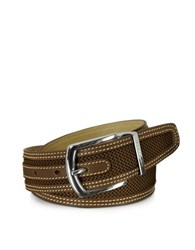 Moreschi St. Barth Brown Perforated Nabuk And Leather Belt