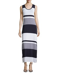 Joan Vass Striped Side Slit Tank Dress Navy Mariner White Mariner