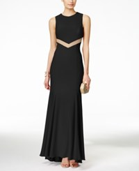 Betsy And Adam Mesh Cutout Back Sleeveless Gown Black
