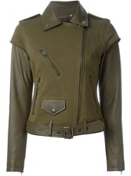 Diesel Deconstructed Biker Jacket Green