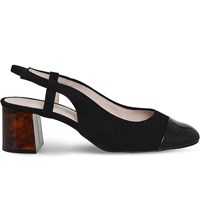 Office Maddie Block Heel Slingbacks Black Suede Patent