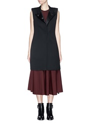 Lanvin Silk Peaked Lapel Long Wool Vest Black