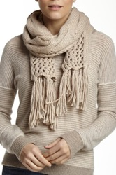 Nine West Cable Knit Open Weave Scarf Beige