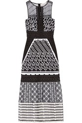 Jonathan Simkhai Pointelle Trimmed Embroidered Organza Midi Dress Black