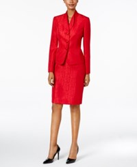 Le Suit Jacquard Three Button Skirt Scarlet