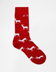 Asos Christmas Socks With All Over Reindeer Red