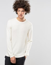 Asos Cable Jumper In Merino Wool Mix Ivory White