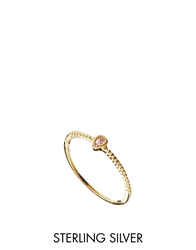 Asos Gold Plated Sterling Silver October Birthstone Ring Pink