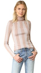 Alice Olivia Catheryn Pointelle Turtleneck Sweater Dusty Rose