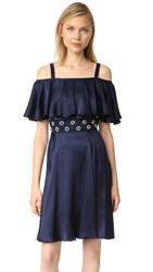 Temperley London Mini Strappy Crossbone Lattice Dress Admiral Blue