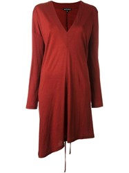 Ann Demeulemeester Longsleeved V Neck Dress Red
