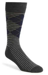 Men's Nordstrom Men's Shop 'Cushion Foot' Argyle And Stripe Socks Grey 3 For 30 Charcoal Heather