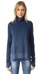 Pam And Gela Turtleneck Side Slit Sweatshirt Vintage Navy