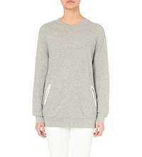 Clu Contrast Cotton And Silk Blend Sweater Heather Grey