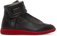 Maison Martin Margiela Black And Red Leather Future High Top Sneakers