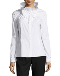 Studio 148 By Lafayette 148 New York Bow Front Woven Long Sleeve Blouse White