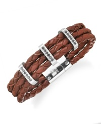 Sutton By Rhona Sutton Men's Stainless Steel Braided Leather And Cubic Zirconia Three Row Bracelet Brown