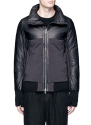 The Viridi Anne Lambskin Leather Panel Tech Fabric Jacket Black