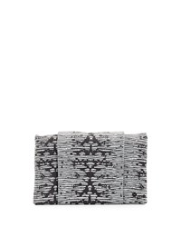 Halston Heritage Embossed Wallet Clutch Bag Black White