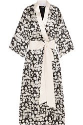 Olivia Von Halle Queenie Sabine Printed Silk Satin Robe Black