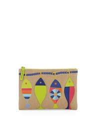 Jonathan Adler Fish Accent Pouch Natural Multi