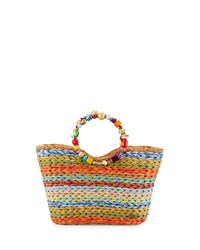 Capelli Of New York Cappelli Beaded Striped Straw Satchel Bag Spice Multi