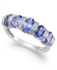 Macy's Sterling Silver Ring Tanzanite 1 5 8 Ct. T.W. And Diamond 1 6 Ct. T.W. 5 Stone Ring