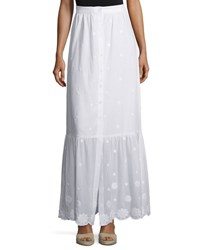 Miguelina Aiden Floral Embroidered Maxi Skirt Pure White