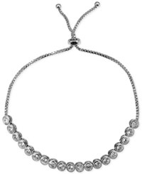Giani Bernini Cubic Zirconia Bezel Adjustable Slider Bracelet In Sterling Silver Only At Macy's