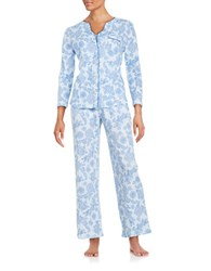 Karen Neuburger Knit Pajama Set Blue