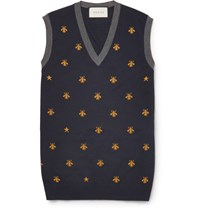Gucci Bee Patterned Wool Sweater Vest Blue