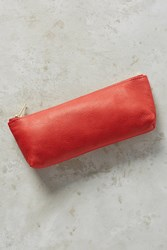 Anthropologie Jeweltoned Leather Pencil Pouch Red