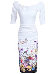 Jolie Moi Floral Half Sleeve Ruched Wiggle Dress Cream