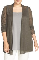 Eileen Fisher Plus Size Women's Sheer Hemp Blend Straight Cardigan