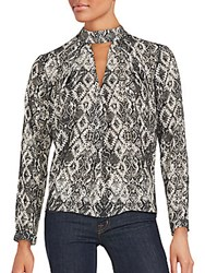 Romeo And Juliet Couture Snake Print Long Sleeve Top Black White