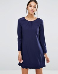Yumi Uttam Boutique Long Sleeve Shift Dress With Crochet Detail Navy