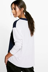 Boohoo Contrast Panel Sports Jumper Navy